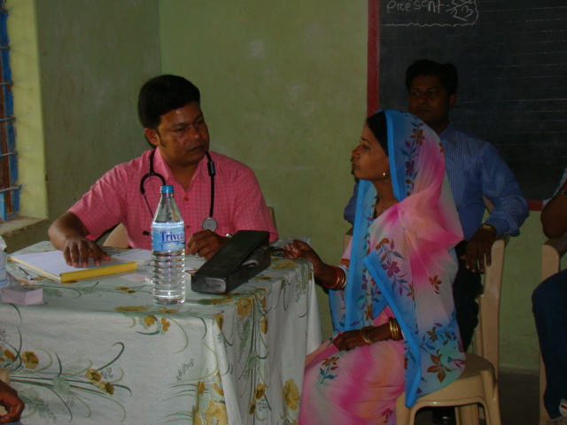 Dr Bachaspati Dash attending to a patient