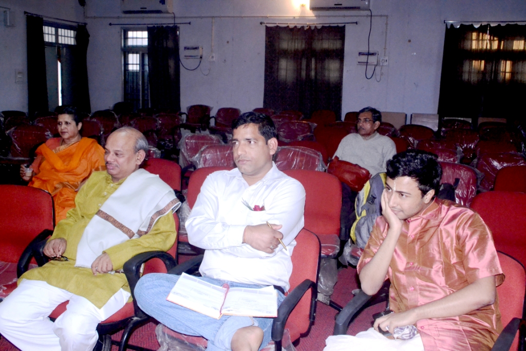 Prof. G. Mishra, Dr. Bholanantha Dash and Swastik Bannerjee with rapt attention